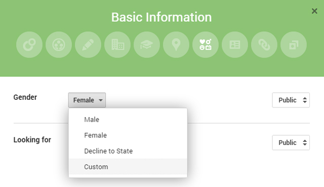 Google+ introduces custom genders
